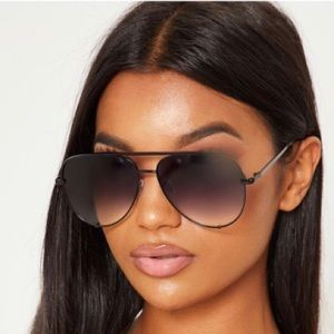 High Key Sunglasses Black to clear 62mm Aviator